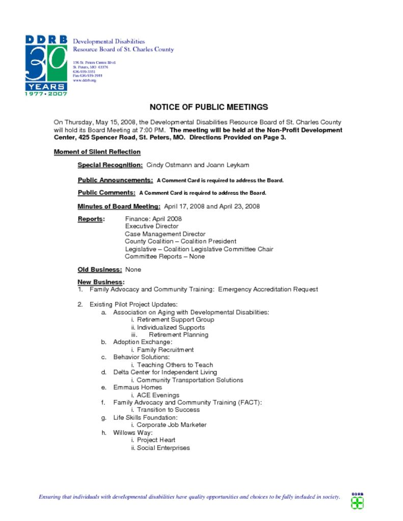 05-15-08 Tentative Agenda