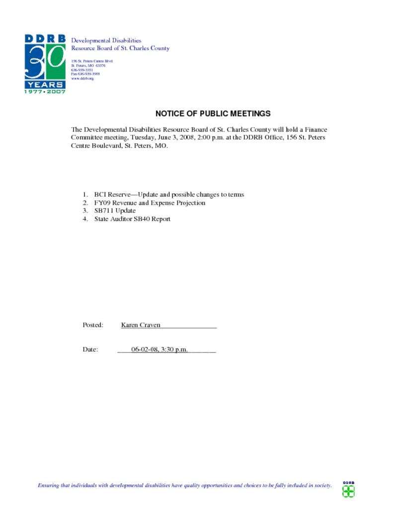 Finance Committee Notice of Meeting