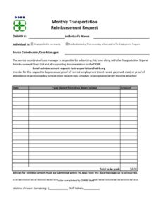 thumbnail of Transportation Reimbursement Request Form