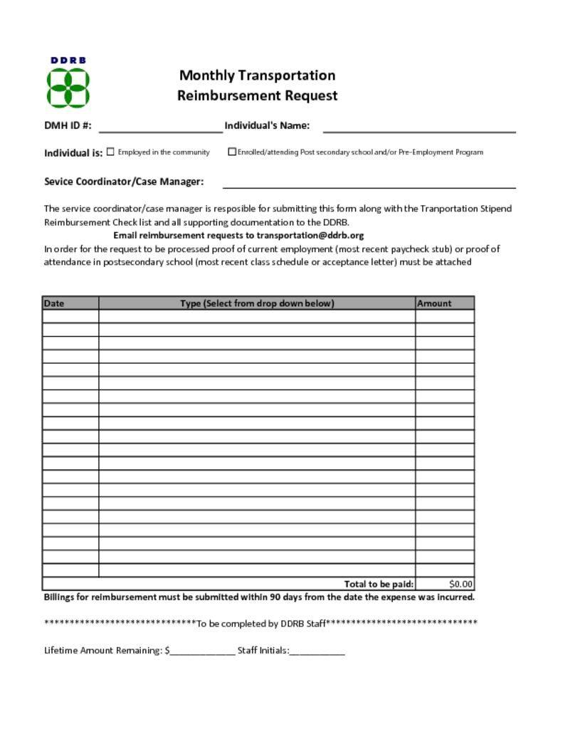 transportation reimbursement request form - fy17