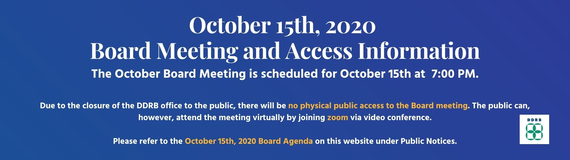 DDRB October 15 Board Meeting Website Notice