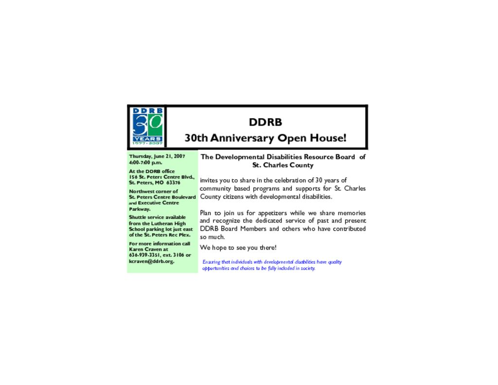 DDRB Invites You To Our 30th Anniversary Celebration!