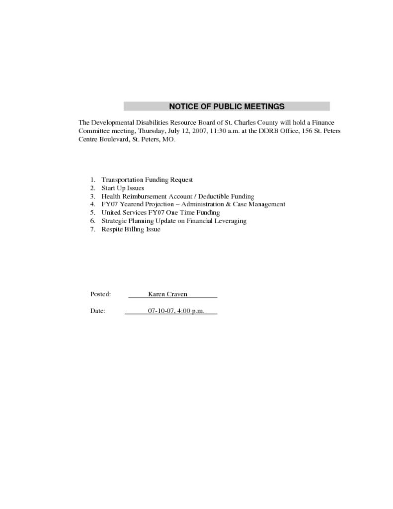 Finance Committee Meeting Agenda July 12, 2007